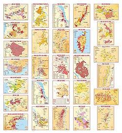 Wijngebieden in geografische ansichtkaarten